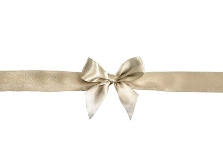 Silver bow isolated on white background. Silk ribbon, silk bow.