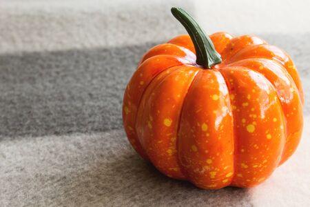 Halloween on a gray background. Halloween decoration concept. Pumpkin close-up.