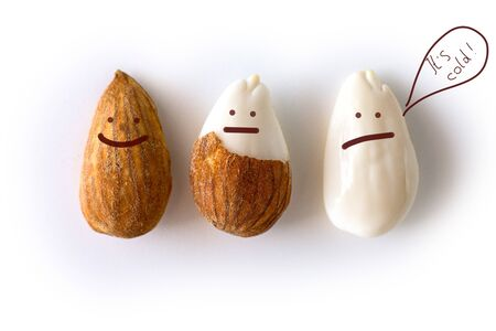 peeled young almonds on a white background, isolate, nut antioxidant Imagens