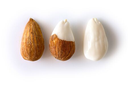peeled young almonds on a white background, isolate, nut antioxidant.