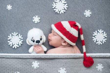 newborn baby in santa claus hat with snowflakes and a knitted dog. christmas theme.