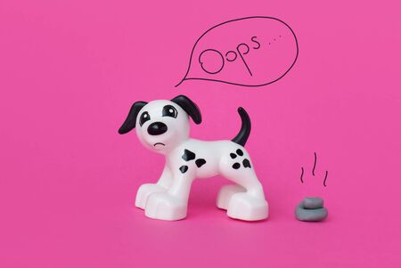 Penalty for excrement of the dog. Fine for the toilet of pets. Clean urban environment. Mock up. Copy space. Pink background