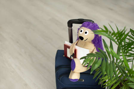 toy on a suitcase with palm leaves, a home plant. Hedgehog tourist. A packed suitcase stands at home.
