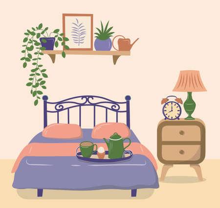 Bedroom interior with furniture, houseplants and home decorations. Flat cartoon vector illustration. Ilustración de vector