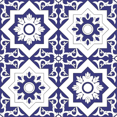 Ornamental pattern seamless vector blue and white color. Azulejo, portuguese tiles, celtic, spanish, moroccan, talavera, turkish or delft dutch tiles design with flowers motifs.