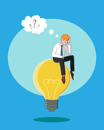 inventing: Thinking businessman. Man is thinking while sitting idea on light bulb, lamp. Thinking process, inventing and creativity process, coming up with new ideas, confusion, get new idea, find answer.