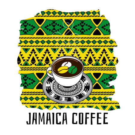 jamaican: Jamaica coffee illustration. Gift shop or touristic concept in ethnic boho style in Jamaican color flag.