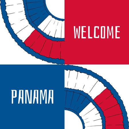 bandera de panama: Bienvenido a Panamá. Ilustración del vector. el diseño del recorrido con elementos de pollera y colores de la bandera del país. Concepto para la bandera del turismo, la cubierta, la tarjeta de información turística o plantilla de volante fiesta de carnaval. Vectores