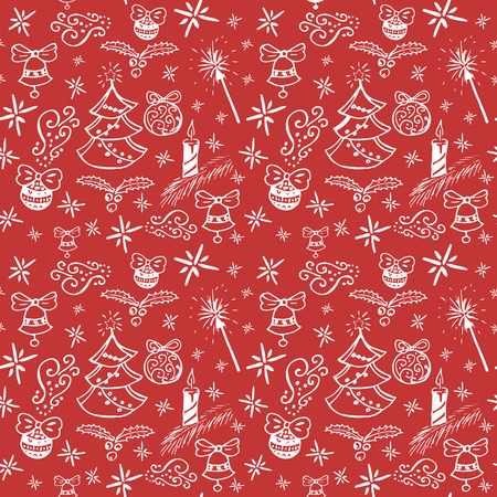 bengal fire: Christmas seamless hand drawn doodle pattern vecter in red white color with bells, holidays balls, bengal fires, christmas tree and candles Illustration