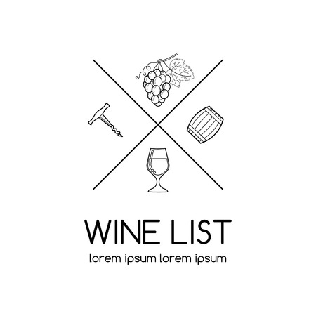 port wine: Wine  or label for wine list, vineyard or winery. Wine list  with glass, corckscrew, grape and wine barrel.