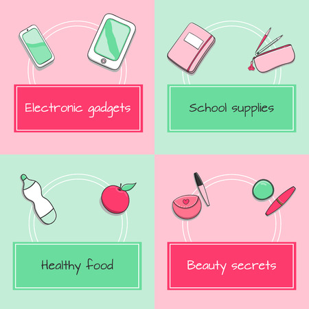 electronic organiser: School icons set - school supplies, electronic gadgets, healthy food and beauty secrets. All from teenage or student girl backpack. Elements for infographic, web and school poster design. Illustration