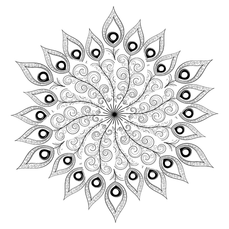 Monochrome white black mandala vector. Indian, ethnic, oriental or turkish ornament for coloring page. Peacock feathers decoration print.