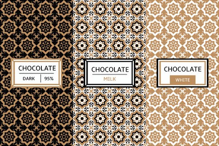 sweetshop: Chocolate Packaging Set - vector set of design elements and seamless pattern for chocolate packaging. Label pattern for organic and handmade cocoa package. Pattern for products, desserts, cafe, sweet-shop and candy shop.