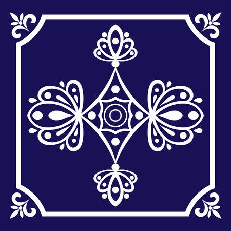 Tile pattern seamless vector blue and white color. Azulejo, portuguese tiles, spanish, moroccan, mexican talavera, turkish or delft dutch tiles design. 矢量图像