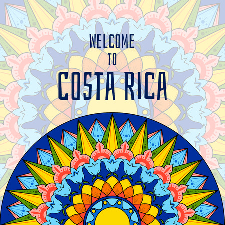 Welcome to Costa Rica. Boho tribal colorful illustration. Tourist theme ornament design for banner or flyer.