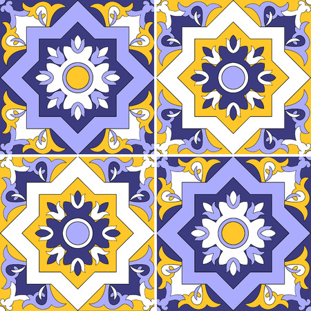 Tile pattern vector seamless with flowers motifs. Azulejo, portuguese tiles, spanish, moroccan, turkish or arabic tiles design. Tiled print for wrapping, background or ceramic. Vettoriali