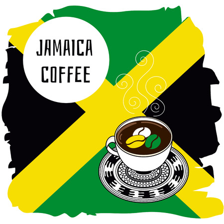 jamaican: Jamaican coffee vector illustration. Banner or label concept in color flag of Jamaica. Illustration