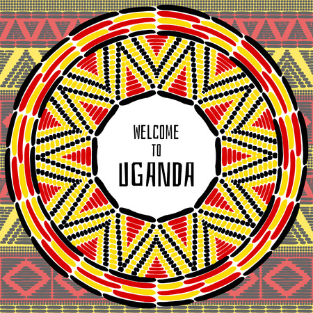 kampala: Tourist tribal Uganda vector design. African ethnic print for travel card, banner or flyer template. Vacation illustration in Ugandan flag colors � black, yellow and red.