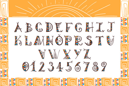 Tribal alphabet Ethnic font vector African or Aztec style letters Hand drawn tribal boho font