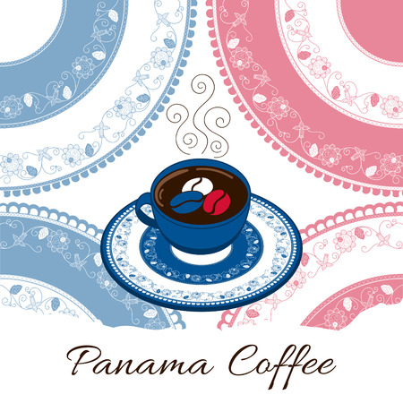 country kitchen: Panama coffee illustration vector. Coffee cup with floral decorated plate on lace pollera background. Print for cafe banner or flyer, label, food poster, sticker or tourist souvenir postcard design.