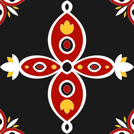 talavera: Tile pattern design vector. Portuguese tiles ? azulejo. Black, yellow, white and red tiled pattern Illustration