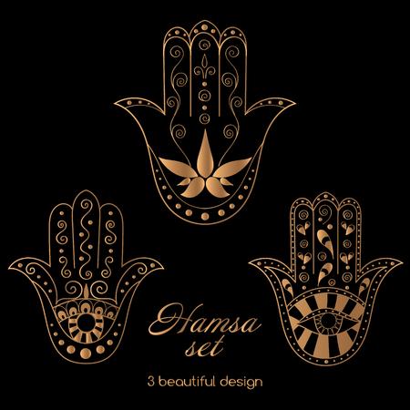 talismán: Hamsa set vector. ornamento oriental negro de oro. Mano de Fátima - símbolo árabe. talismán. Vectores