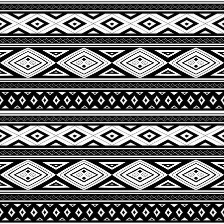 Vecteur sans trace de motif tribal. Design imprimé monochrome péruvien ethnique