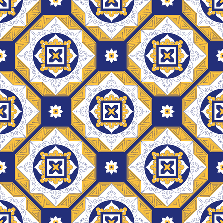 Portuguese tiles pattern vector with diagonal blue, yellow and white ornaments. Portugal azulejo, mexican, spanish or moroccan motifs. Background for wallpaper, surface texture, wrapping or fabric.