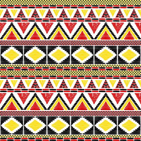 Stammenpatroon vector naadloos. Afrikaanse print met in Uganda vlaggen kleuren. Ethische textuur. Achtergrond voor stof, behang, inpakpapier en kaartsjabloon.