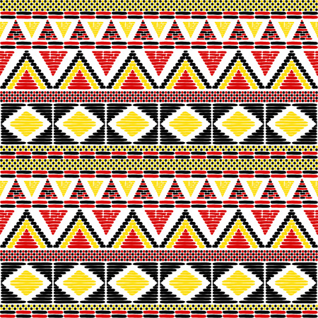 Tribal pattern vector seamless. African print with in Uganda flags colors. Ethic texture. Background for fabric, wallpaper, wrapping paper and card template. 矢量图像