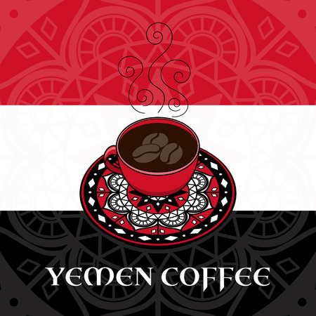 Yemen coffee illustration vector. Coffee cup with ornamental plate on Yemen flag colors background. Design for travel banner, flyer, poster or tourist design. Illustration