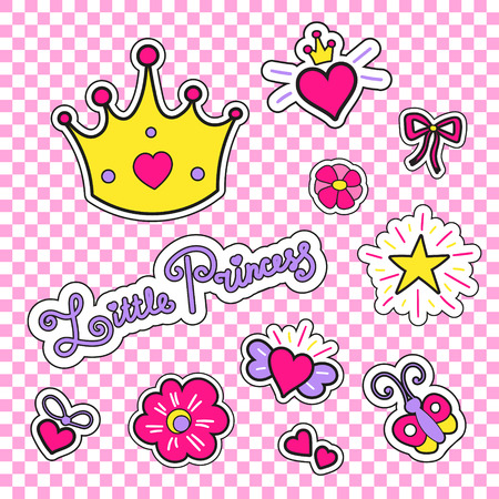 Fashion patches with crown, hearts, stars, flowers and other elements for little princess. Set stickers or tags for girls isolated.