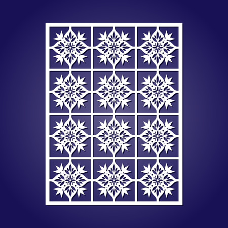 Oriental decoration tiles ornament for paper or fretwork