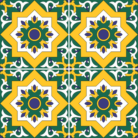 Tile pattern seamless with flowers motifs Illustration