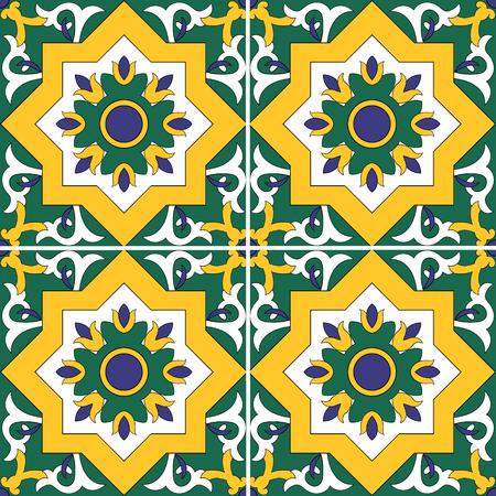 talavera: Tile pattern seamless with flowers motifs Illustration