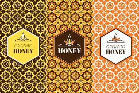 nectar: honey packaging template with seamless ornamental patterns