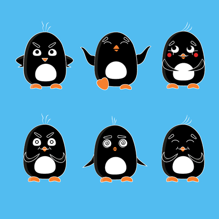 embarrassment: Cute penguins vector set. Cartoon Animal flat vector. Emotion penguin set - angry, happy, embarrassment, deceit, overload and laughing. Illustration