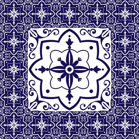 edwardian: Blue white tiles floor - vintage pattern with ceramic cement tiles Illustration