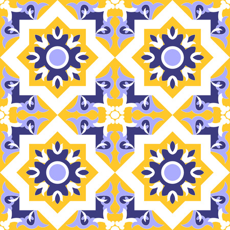 Ornamental pattern seamless blue, yellow and white color
