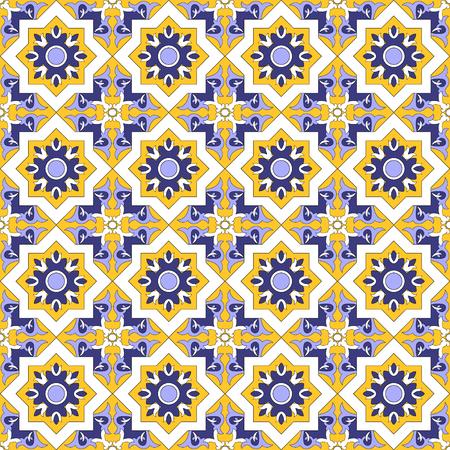 mosaic floor: Tile floor - mosaic kaleidoscope tiled pattern. Illustration