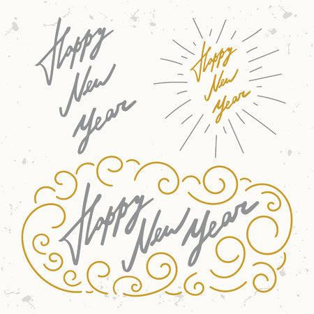 happy new year set vector gold silver calligraphy typography composition lettering holiday overlay template