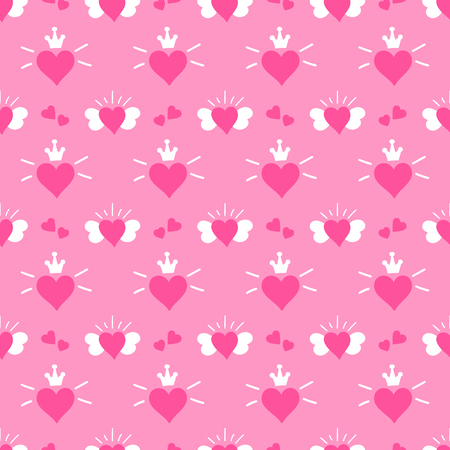 cute baby girls: Little princess pattern vector. Pink print hearts with wings and crown. Cute girl background for birthday card, baby shower invitation, children wallpaper, baby clothing or girls dress fabric.