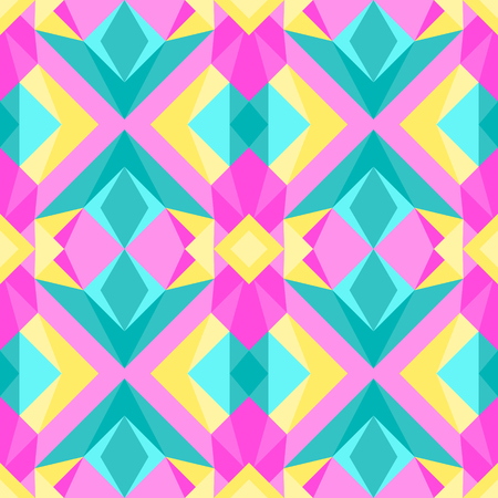 Wild triangle polygonal 90s or 80s pattern vector. Abstract geometric bubblegum colors pop art style background.