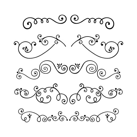 vignette: Set of swirl hand drawn text dividers vector. Decorative line border isolated on white background. Unique dividers.