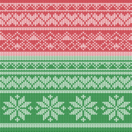 craft ornament: Winter knitted pattern vector. Christmas red green holiday background with snowflake, hearts and decorative elements. Swedish or Norwegian ornament craft. Illustration