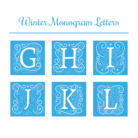 Winter initial letters vector. Letters G, H, I, J, K, L isolated.