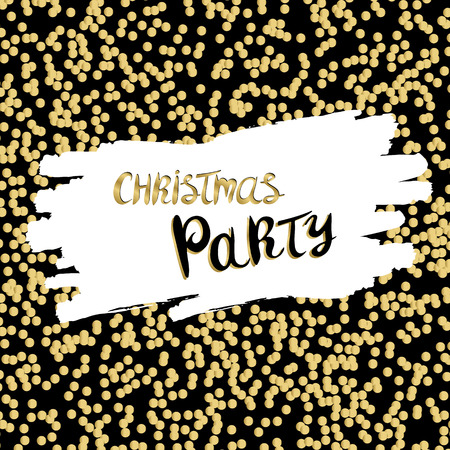 Merry christmas party background with gold glittering. Design for xmas card or holiday party invitation.