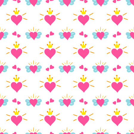 cute baby girls: Little princess pattern vector. Print hearts with wings and crown. Cute girl background for birthday card, baby shower invitation, children wallpaper, baby clothing or girls dress fabric.
