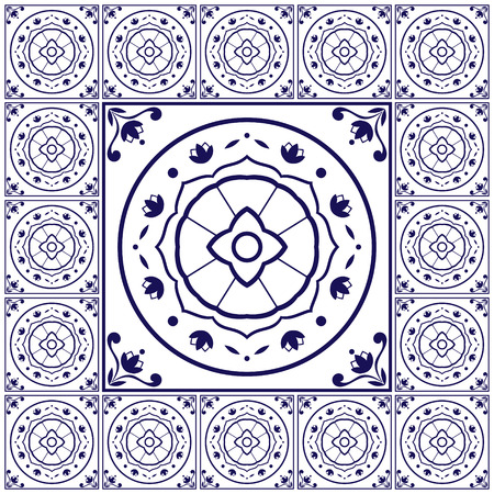 edwardian: Blue white tiles floor pattern vector with ceramic cement tiles. Big tile in center is framed. Background with Portuguese azulejo, Dutch delft, Italian majolica, Mexican talavera, Spanish motifs. Illustration
