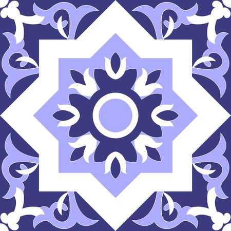 Tile pattern isolated design vector. Portuguese tiles Azulejo, spanish, italian, maxican Talavera or moroccan ornaments. Blue and white tiled pattern seamless Illusztráció